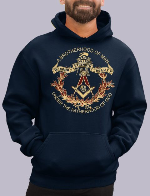 A Brotherhood of Man Masonic Hoodie a brotherhood navy hoodie
