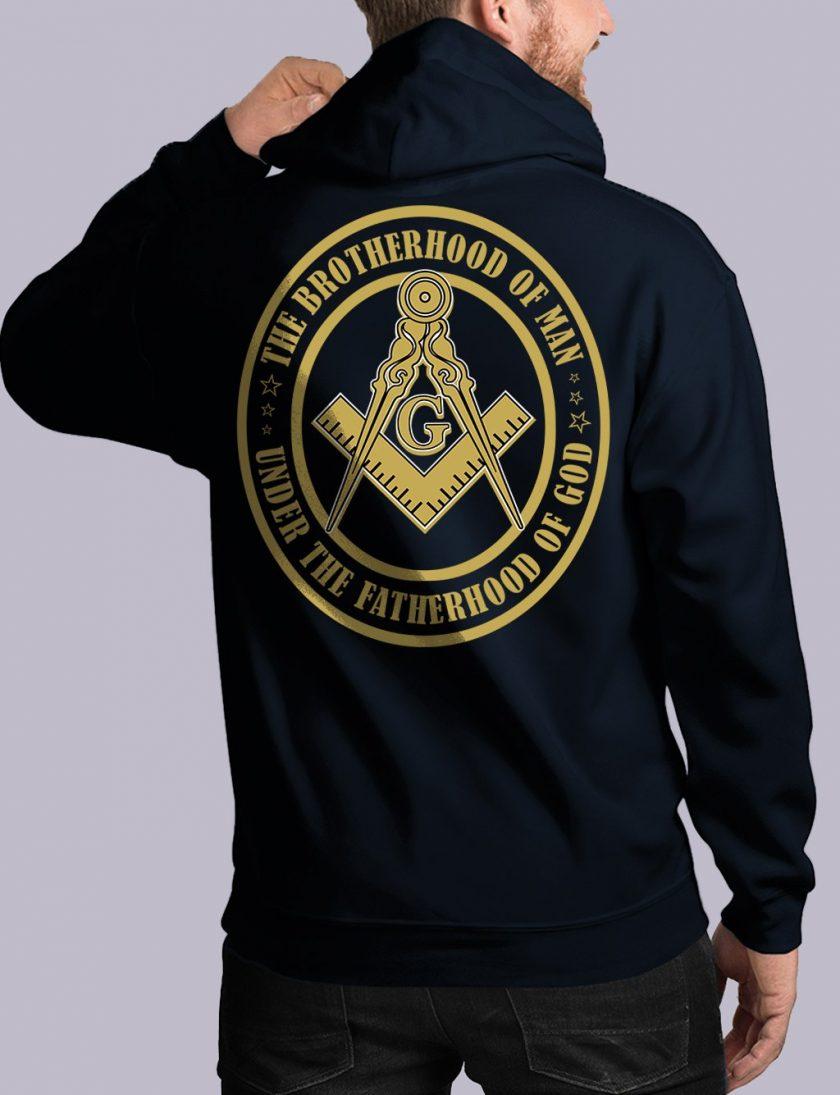bros of man back navy hoodie