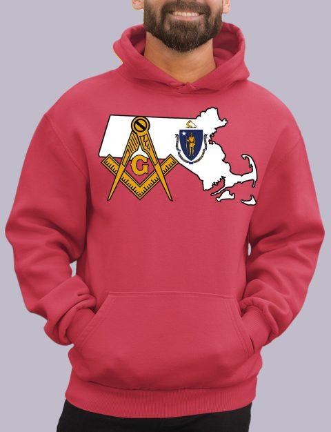 Massachusetts Masonic Hoodie massachuset red hoodie