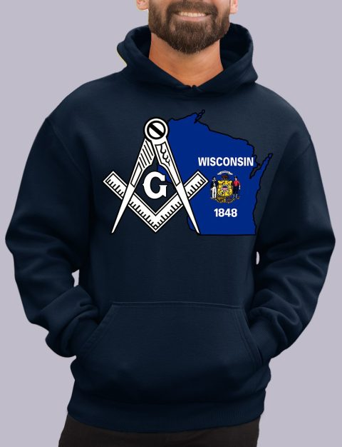 Wisconsin Masonic Hoodie wisconsin navy hoodie