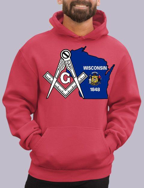Wisconsin Masonic Hoodie wisconsin red hoodie