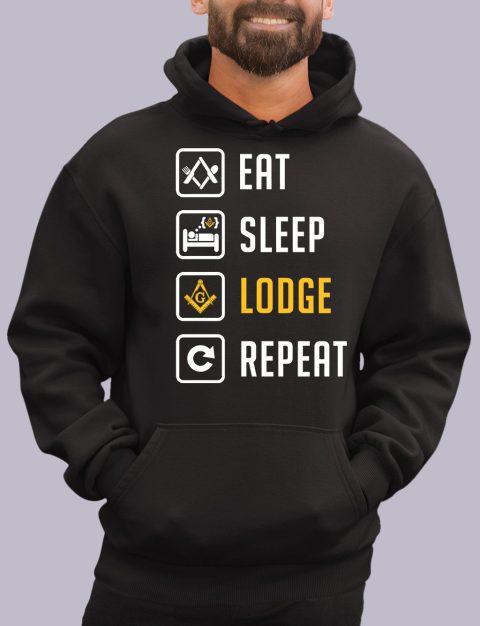 Eat Sleep Lodge Repeat Masonic Hoodie eat sleep black hoodie 1