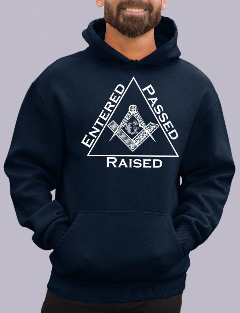 entered navy hoodie