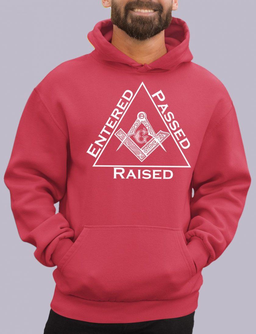entered red hoodie