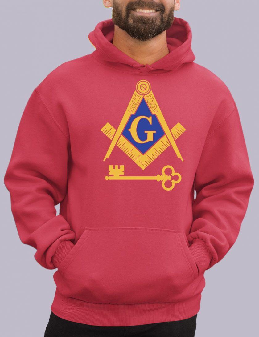 international red hoodie