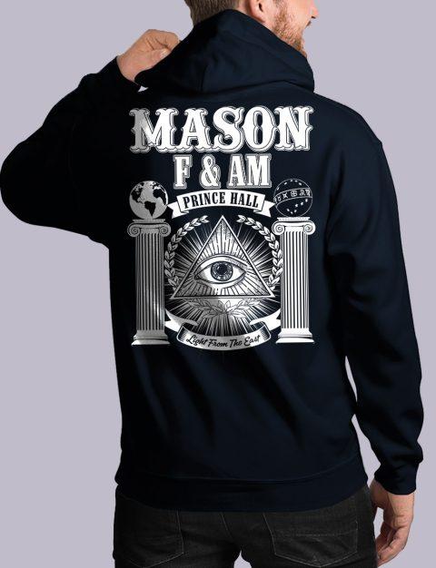 Prince Hall F&AM Masonic Hoodie masonic fam back navy hoodie