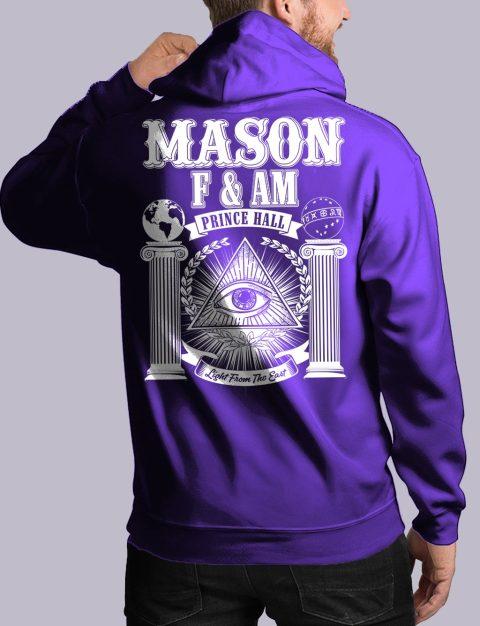 Prince Hall F&AM Masonic Hoodie masonic fam back purple hoodie