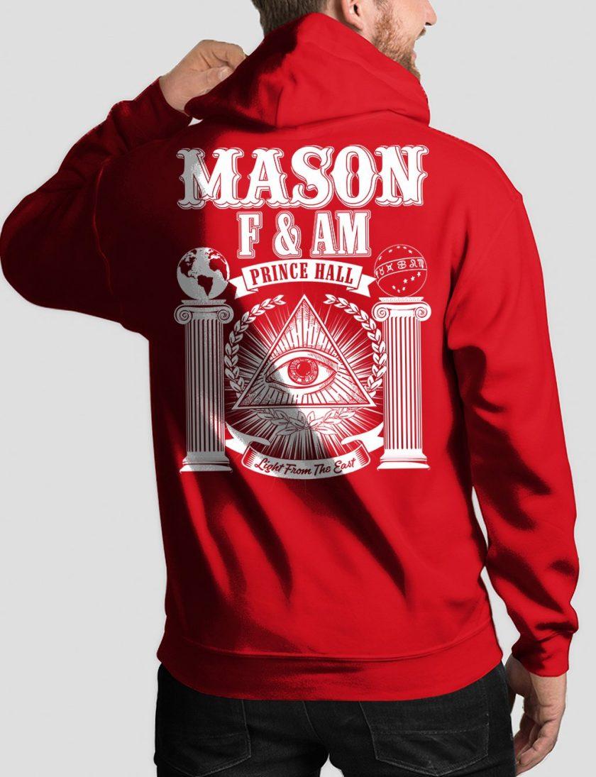 masonic fam back red hoodie