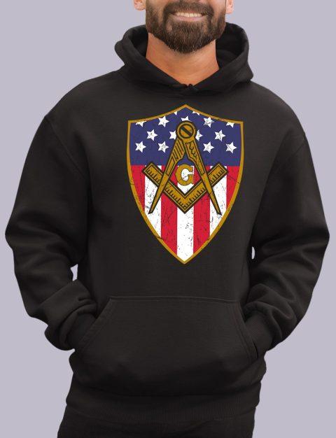 Old Union Shield Masonic Hoodie masonic shield black hoodie 1