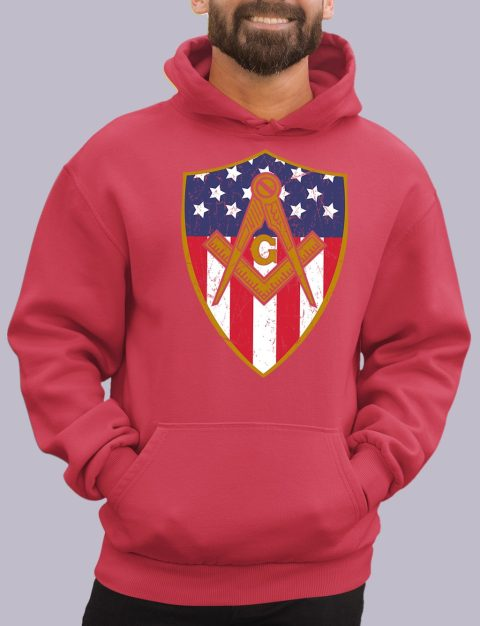 Old Union Shield Masonic Hoodie masonic shield red hoodie