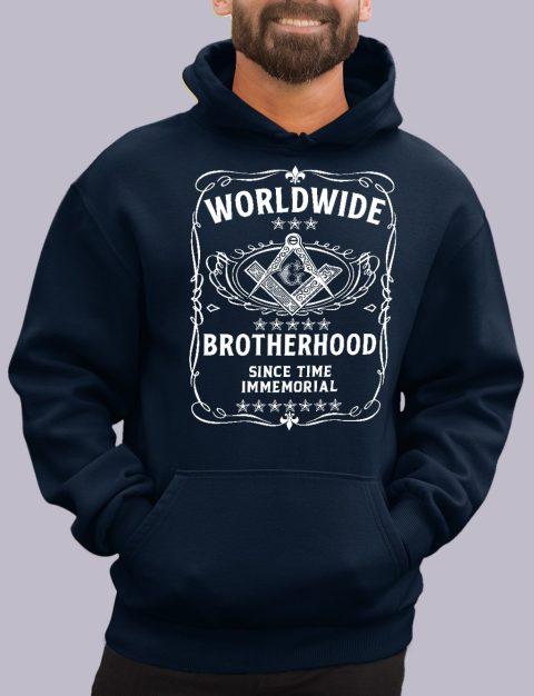 Worldwide Brotherhood Masonic Hoodie worldwide navy hoodie