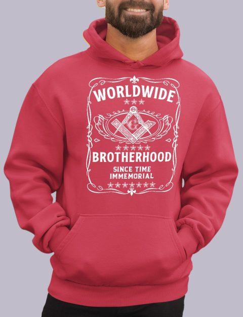 Worldwide Brotherhood Masonic Hoodie worldwide red hoodie
