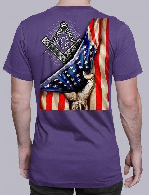 Masonic American Flag T-Shirt Masonic American Flag purple shirt back 6