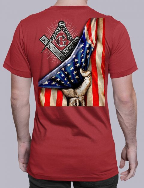 Masonic American Flag T-Shirt Masonic American Flag red shirt back 6