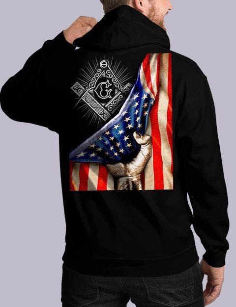 Masonic American Flag Masonic Hoodie american flag back black hoodie 1