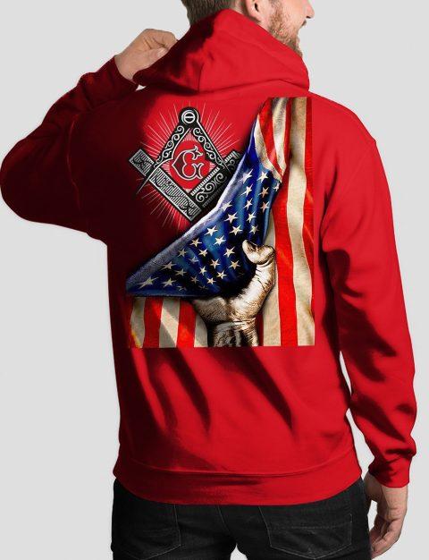 Masonic American Flag Masonic Hoodie american flag back red hoodie 1