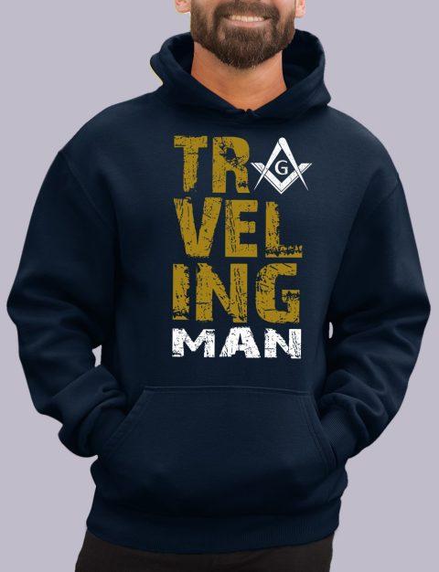 Traveling Man Masonic Hoodie New travel man navy hoodie