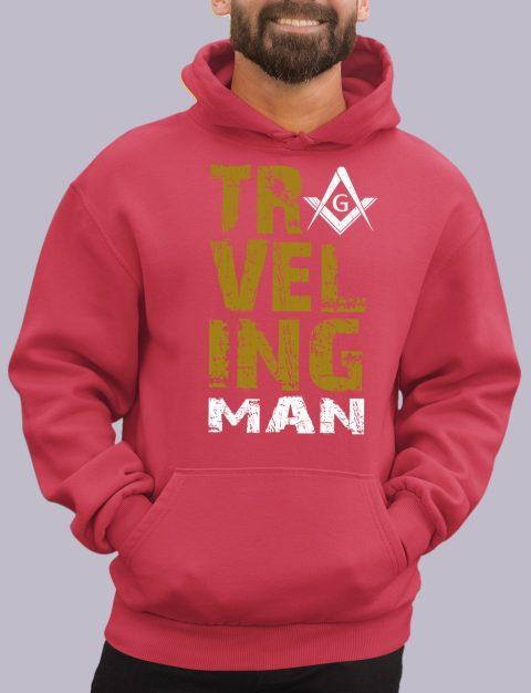 Traveling Man Masonic Hoodie New travel man red hoodie
