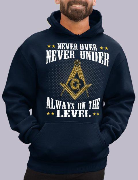Never Over Never Under Masonic Hoodie Never over navy hoodie 1