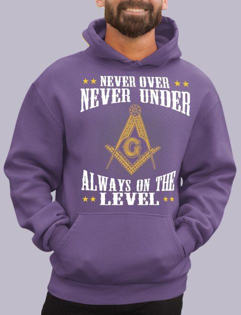 Never Over Never Under Masonic Hoodie Never over purple hoodie