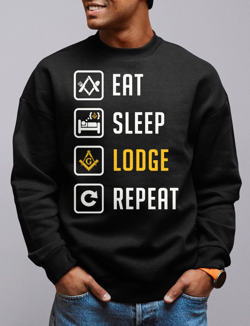 eat sleep black sweatshirt