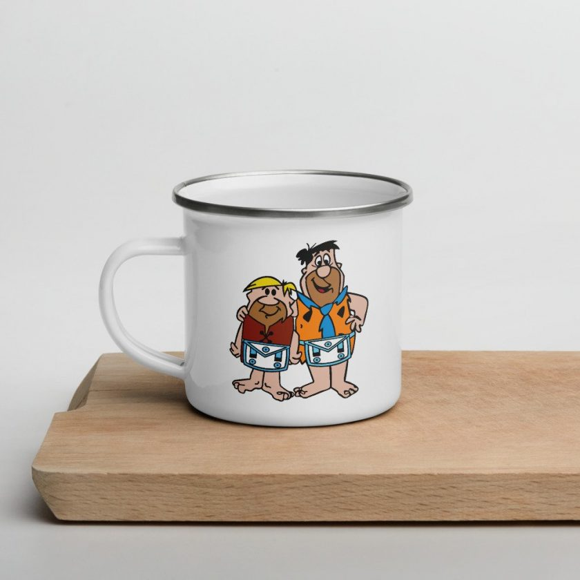 fred and barney enamel mug