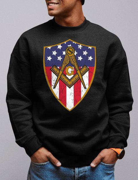 Masonic Symbol with Shield Sweatshirt mason shield black sweatshirt