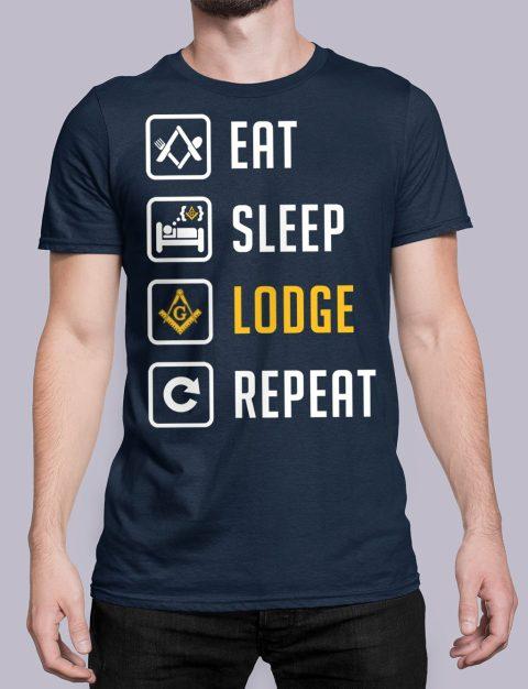 Eat Sleep Lodge Repeat Masonic T-Shirt Eat Sleep Lodge Repeat navy shirt 7