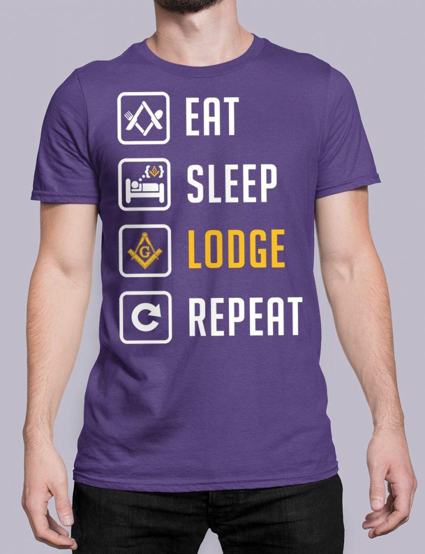 Eat Sleep Lodge Repeat purple shirt 7