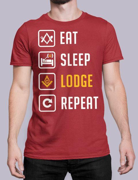 Eat Sleep Lodge Repeat Masonic T-Shirt Eat Sleep Lodge Repeat red shirt 7