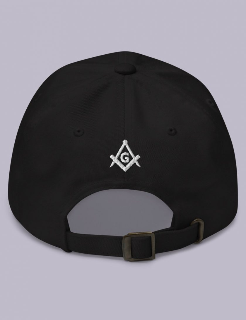 Embroidery Raised masonic hat back black
