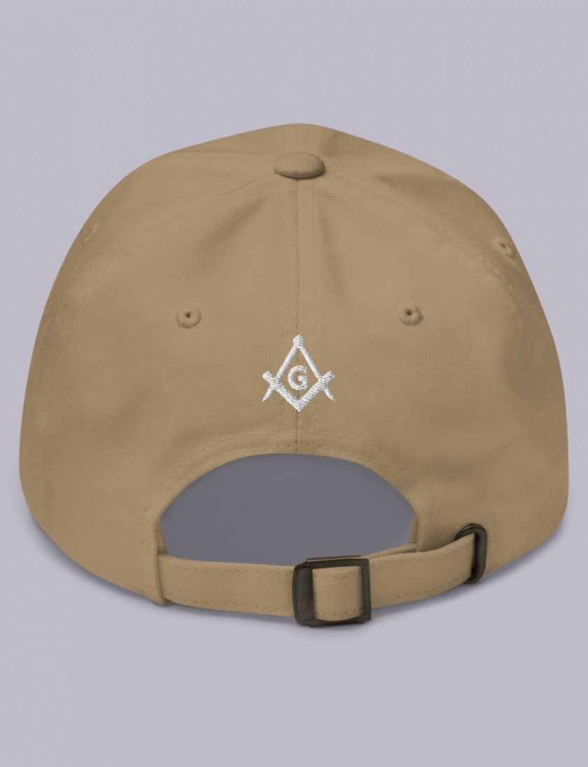 Embroidery Raised masonic hat back khaki
