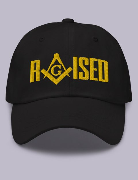 Raised Masonic Hat Gold Embroidery Raised masonic hat black