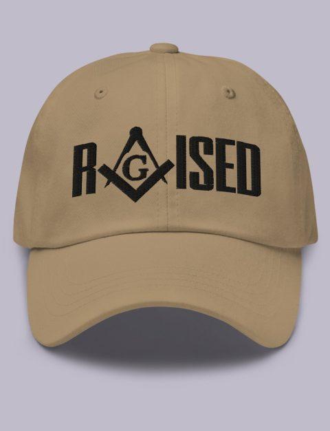 Raised Masonic Hat Black Embroidery Embroidery Raised masonic hat khaki black