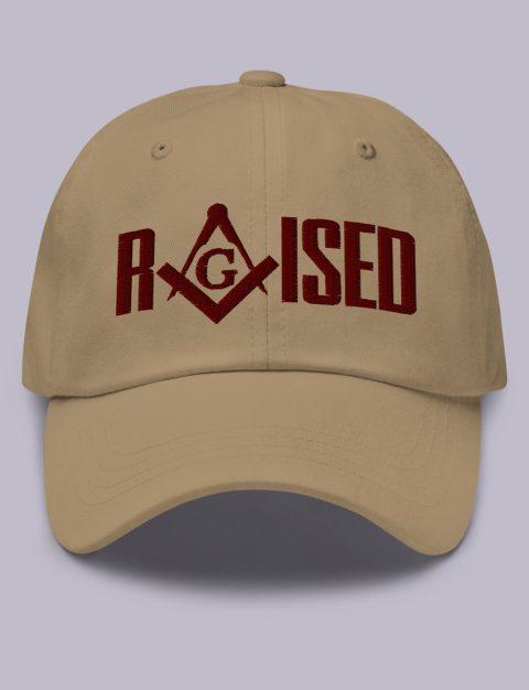 Maroon Raised Masonic Hat Embroidery Raised masonic hat khaki maroon