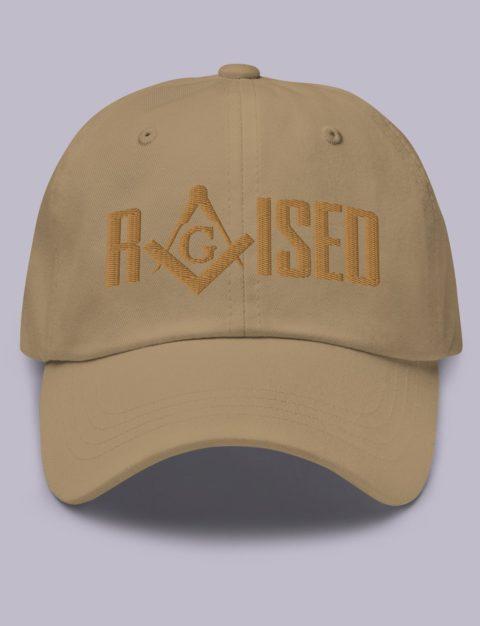Old Gold Raised Masonic Hat Embroidery Raised masonic hat khaki old gold