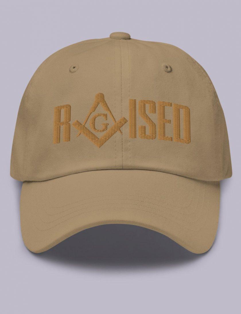 Embroidery Raised masonic hat khaki old gold