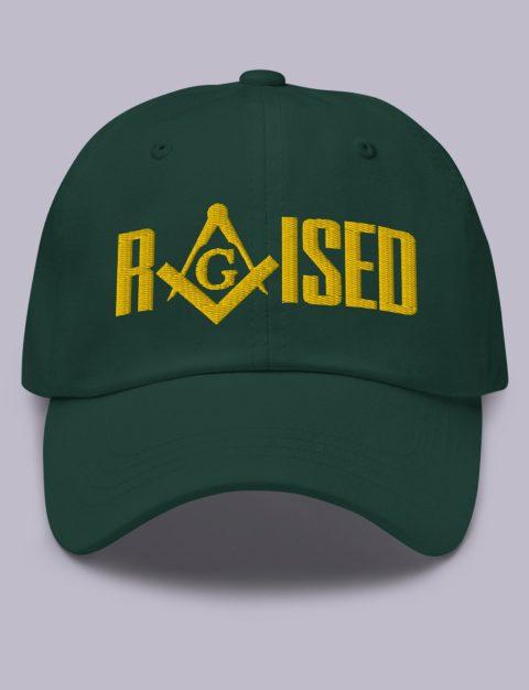 Raised Masonic Hat Gold Embroidery Raised masonic hat spruce