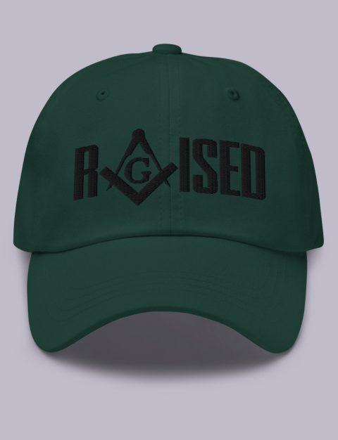 Raised Masonic Hat Black Embroidery Embroidery Raised masonic hat spruce black