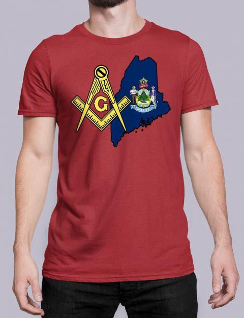 Maine Masonic Tee Maine red shirt