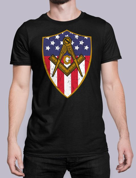Masonic Symbol with Shield T-Shirt Masonic Symbol with Shield black shirt 23
