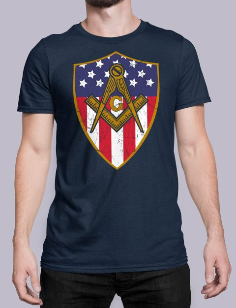 Masonic Symbol with Shield T-Shirt Masonic Symbol with Shield navy shirt 23
