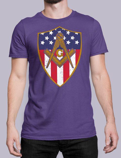 Masonic Symbol with Shield T-Shirt Masonic Symbol with Shield purple shirt 23