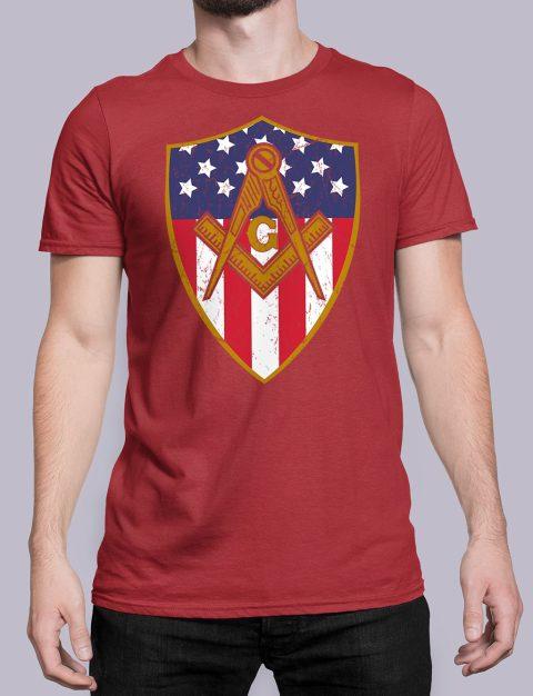 Masonic Symbol with Shield T-Shirt Masonic Symbol with Shield red shirt 23