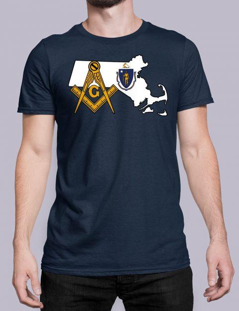 Massachusetts Masonic Tee Massachusetts navy shirt