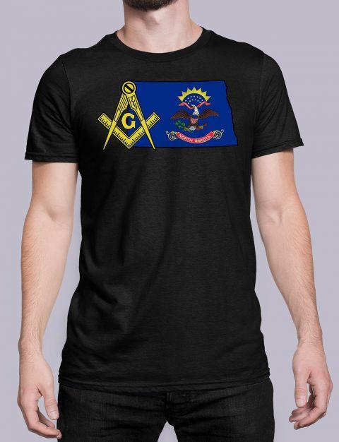 North Dakota Masonic Tee North Dakota black shirt