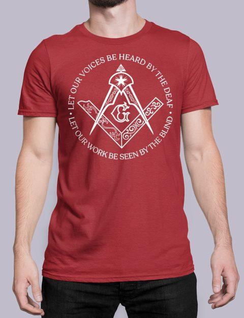 Sacred Work Masonic T-shirt Sacred Work front red shirt 31