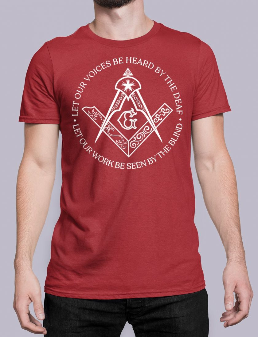 Sacred Work front red shirt 31