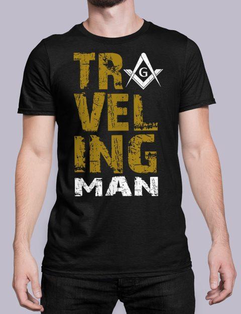 Traveling Man T-Shirt Traveling man masonic black shirt 39