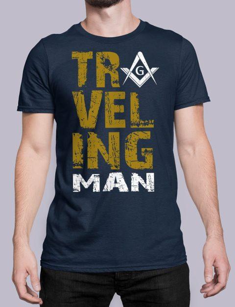 Traveling Man T-Shirt Traveling man masonic navy shirt 39